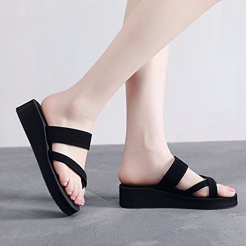 bottom clip Black and summer sandals British XZ flip Women's flops fashion foot slope wear thick LIUXINDA fashion HaPCw8avq