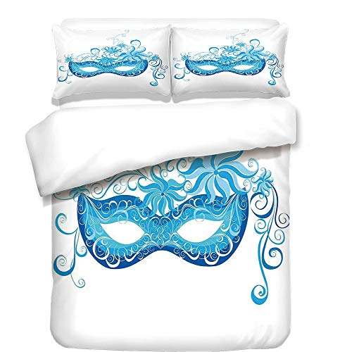 iPrint 3Pcs Duvet Cover Set,Masquerade,Venetian Style Mask Majestic Impersonating Enjoying Halloween Night Theme,Blue and Sky Blue,Best Bedding Gifts for Family/Friends