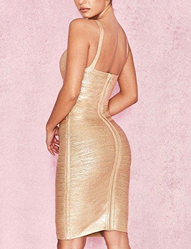 Whoinshop Damen Ärmelloses V-Ausschnit Kleid Folien-Druck Strecken Bandage Bodycon PartyKleid Gold Ytpg7WfT