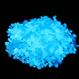 Glow in the Dark Home and Garden Fish Tank Aquarium Decorative Pebbles Sand Gravel Rocks (5-8mm, Sky Blue,280g/9.87oz)