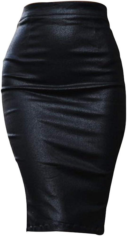 Haobing Falda Tubo de Color Liso para Mujer Oficina por La Rodilla Cuero de imitación Vestido Ajustado con Aberturas