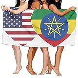 Unisex Ethiopia USA Flag Twin Heart Over-Sized Cotton Bath Beach Travel Towels 31x51 Inch