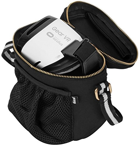 For Samsung Gear VR Storage Bag, VR Travel Bag, Gear VR Carry Case, Virtual Reality Headset Shoulder Bag Gaming Controller Protects Cable Accessories with Mesh Bag