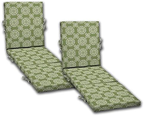 Comfort Classics Inc. Set of 2 Outdoor Patio Chaise Cushions, 21 W x 72 L x 3 H. Polyester Fabric Green Tulip Medallion