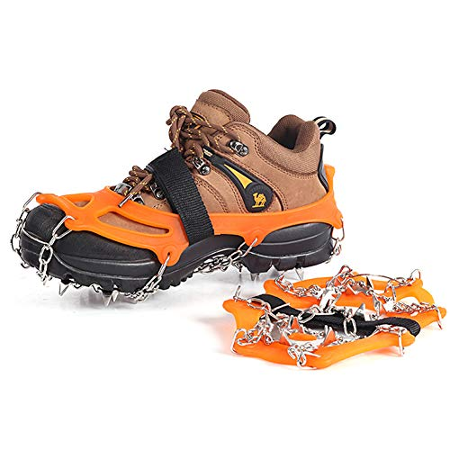 007plus Ice Traction Cleats Non-Slip Ice Snow Grips 18 Spikes Provide Excellent Traction Ice and Snow Never Worry About Fall & Slip, Also for Jogging, Climbing (Orange, L (8.5-10 Wmen / 7.5-9 Men))