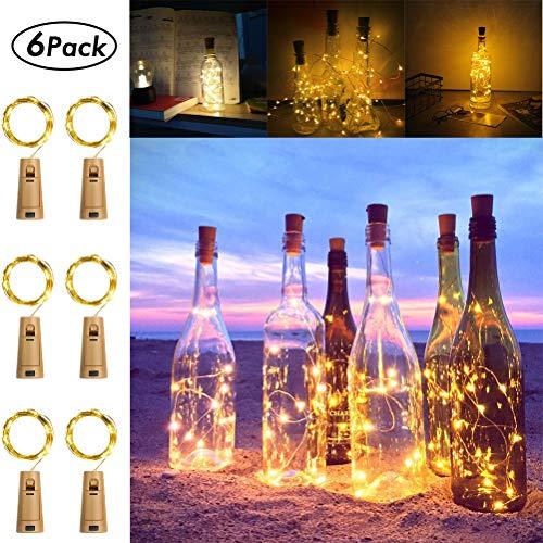 [6-Pack] Cork Lights 6.56 ft 20 Led Wine Bottle Lights Battery Operate Waterproof Silver Fairy Lights for Liquor Bottles Crafts, Bedroom, DIY, Party, Wedding Gift Decor Indoor Outdoor (Cool White)