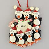 Personalized Penguin Family (7) Claydough Christmas Ornament