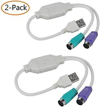 Boomder Accesorios para teléfonos móviles PS2 Keyboard Mouse to USB Cable Adaptador de convertidor para PC portátil Ordenador 2-Pack Línea de Carga: ...