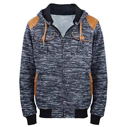 Heavy Hoodies For Men Full Zip Casual Marled Fleece Hoodie Hooded Sweatshirt