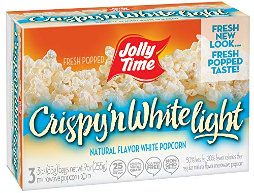 (Jolly Time Crispy 'n White Light Natural Microwave Popcorn, 3-Count Boxes, 9 oz, (Pack of 12))