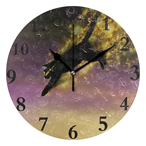 Ladninag Wall Clock Phantom Cat Silent Non Ticking Decorative Round Digital Clocks for Home/Office/School Clock