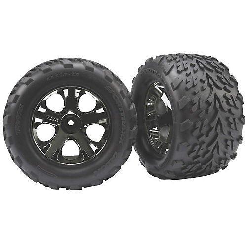 traxxas-3669a-28-talon-tires-pre-glued-on-chrome-all-star-wheels-tsm-rated-pair