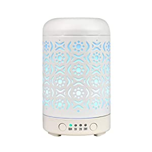 Aromatherapy Diffusers for Essential Oils, 100ml white metal essential oil diffuser, Ultrasonic Diffuser Humidifier for Home, Office, Gifts, Yoga