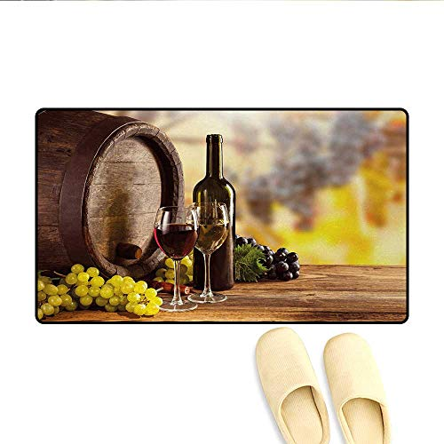 Bath Mat,Red and White Wine Bottle Glass on Wooden Keg Quality Taste Traditional,Door Mat Indoors Bathroom Mats Non Slip,Brown Pale Green - Bottle Glutton