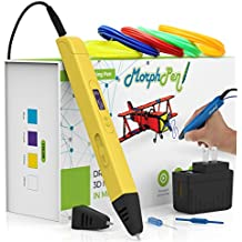 Professional 3D Pen for Printing and Modeling 3D Pen kit, 3D Art Pen, 3D Drawing Pen for Education, 3D Modeling, Art, for kids and artists (Yellow)