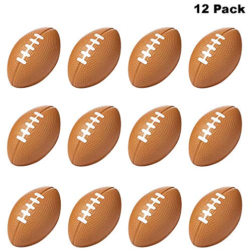 Finduat 12 Pack Mini Sports Stress Football, Foam Squeeze Sports Ball for School Carnival Reward, Kids Birthday Party Favors Toy, Fantasy Football Draft, Party Bag Gift Fillers