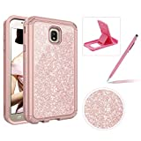 Pink Glitter Hybrid Case for Galaxy J7 2018,Sturdy Armor Shockproof Case for Galaxy J7 2018,Herzzer Stylish Luxury 3 in 1 Sparkle Heavy Duty High Impact Defender Full Body Case