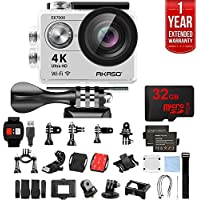 Akaso EK7000 Ultra HD 4k WIFI 170 Degree Wide Waterproof Sports Action Camera Silver (EK7000SL) with 32GB MicroSD High-Speed Memory Card & 1 Year Extended Warranty