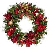 Kirkland Signature 32'' Diameter, 183 Tips, 50 LED Lights, Timer Function, LED Pre-lit Battery Operated Wreath Christmas Decoration
