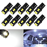KaTur 10pcs T10 LED Bulb Super Bright 450 Lumens 168 194 2825 175 921 912 LED Light 5630 6SMD Interior Map Lights Trunk Cargo Lights Courtesy Corner Side Marker LEd Lights 2W 12V 6000K White