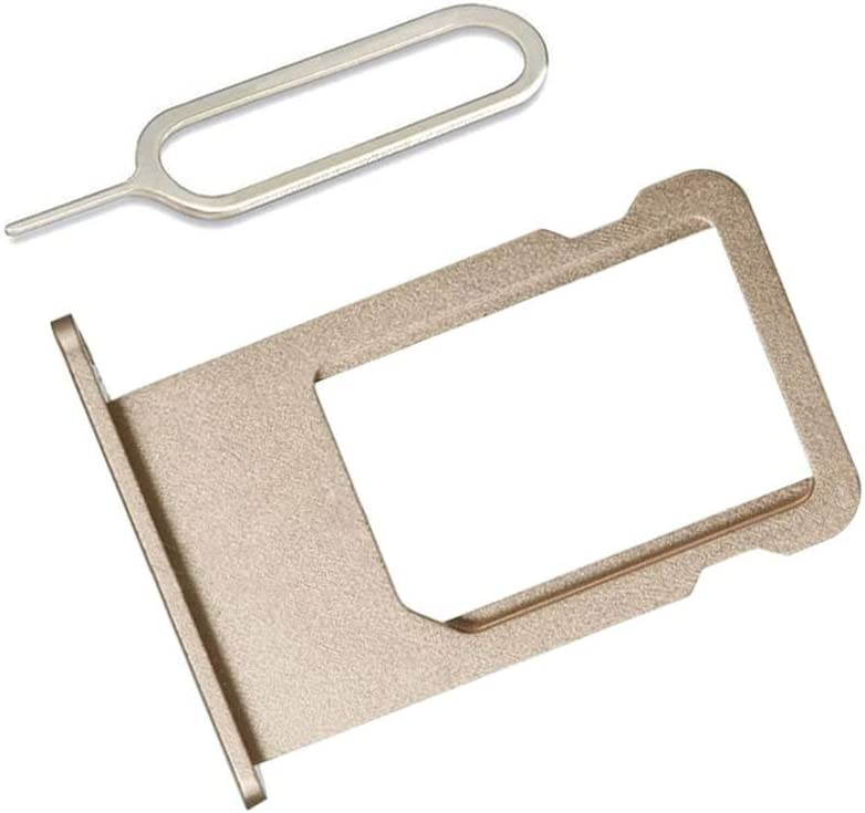 LIBAI-V SIM Card Slot Holder Replacement Part for iPhone 6 Plus Incl Eject Pin + Cloth (Gold)