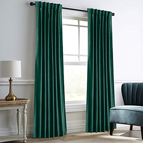 Dreaming Casa Darkening Teal Velvet Curtains for Living Room,Thermal Insulated Rod Pocket/Back Tab Window Curtain for Bedroom(2 Top Construction Combination,52