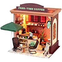 New Hoomeda DIY Wood Dollhouse Miniature With LED Furniture Cover Free Time Coffee By KTOY