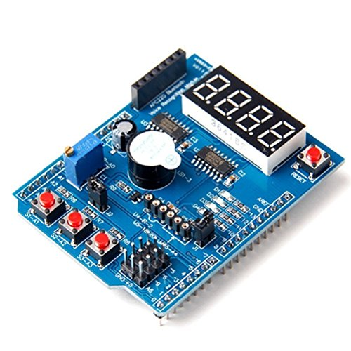 HiLetgo® Multi-Function Shield ProtoShield Multi-functional Expansion Board Sensor Shield Module witn Four Digital Display for Arduino (Input Digital Module Remote)