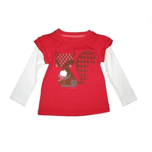 62305ed21 Sprockets Little Girls Red White Squirrel Print Layered Sleeve T-Shirt 6X