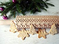Scandinavian CHRISTMAS pattern embossing Rolling pin. Christmas pattern laser engraved embossing rolling pin for homemade Christmas cookies