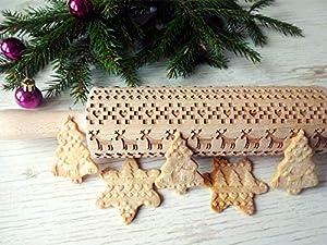 Scandinavian CHRISTMAS pattern embossing Rolling pin. Christmas pattern laser engraved embossing rolling pin for homemade Christmas cookies