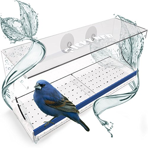 PICKY NEB Window Bird Feeder - Clear Acrylic with Removable Sliding Tray and Four Strong Suction Cups - Large View for Watching Birds (Window Bird Clear Feeder)