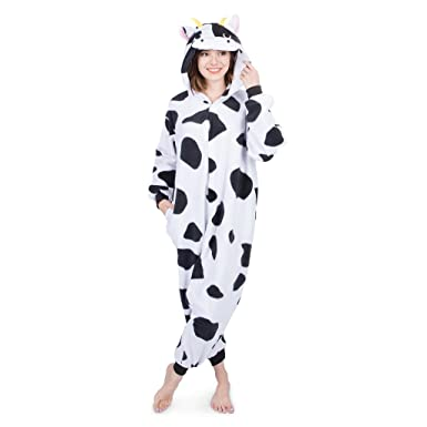 Emolly Fashion Adult Cow Animal Onesie Costume Pajamas for Adults and Teens (Small, Cow