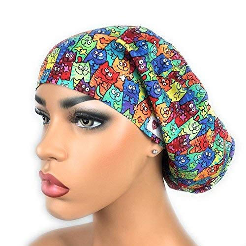 98399148b3c Amazon.com  DK Scrub Hats Womens and Mens Surgical Bouffant Ponytail Hat  Medical Doctor Nurse Cap Tie Dyed Cats  Handmade