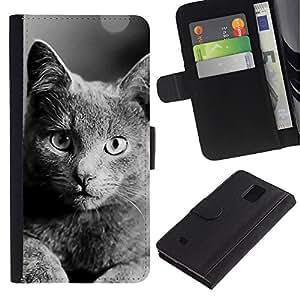 KLONGSHOP // Tirón de la caja Cartera de cuero con ranuras para tarjetas - Británico de Pelo Corto - Samsung Galaxy Note 4 IV //