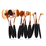 Bestidy Professional 10 Pcs Soft Oval Toothbrush Makeup Brush Sets Foundation Brushes Cream Contour Powder Blush Concealer Brush Makeup Cosmetics Tool Set (Golden)