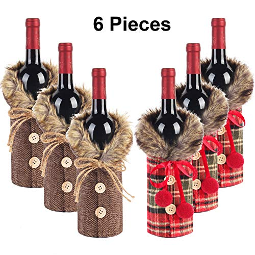 Tanlee 6 Pieces Christmas Sweater Wine Bottle Covers Plaid Wine Bottle Clothes Linen Wine Bottle Dress With Faux Fur Collar And Button Coat Design Wine Bottle Bags For Xmas Party Decorations (6)