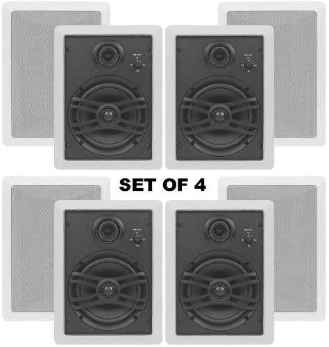 3 Way Flush Mount - Yamaha Natural Sound Custom Easy-to-install In-Wall Flush Mount 3-Way 150 watts Speaker (Set of 4) with a 1