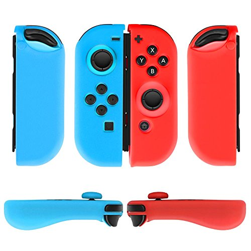 Cheap TNP Nintendo Switch Joy-Con Grip Gel Guards with Thumb Grips Caps – Protective Case Covers Anti-Slip Ergonomic Lightweight Joy Con Comfort Grip Controller Skin Accessories (1 Pair Neon Blue + Red)