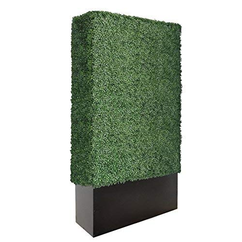 Artigwall Upgraded Artificial Boxwood Hedge Divider Fence Wall with Black Stainless Steel Planter Box (96