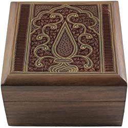 Jewelry Box in Wood Islamic Art Decor Inlay and Carving 4 X 4 X 2.25 Inches