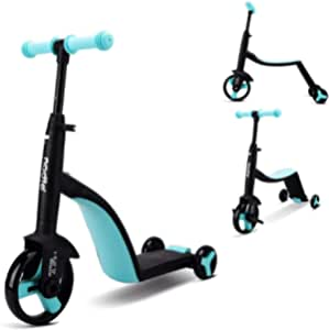 Mopoq 3 In 1 Children Scooter One And A Half Years Old Baby Scooter 3-5 Years Old Children Tricycle Three Modes One Button Switch 360 ° Rotating Body Adjustable Handlebar Height Outdoor Indoor