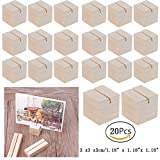 Hacloser Natural Wood Place Card Holders Memo Clips Photo Holder Clamps Stand Desktop Card Crafts Wedding Home Birthday Party Decorations (20, S:3 x 3 x 3cm/1.18'' x 1.18''x 1.18'')