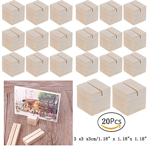Hacloser Natural Wood Place Card Holders Memo Clips Photo Holder Clamps Stand Desktop Card Crafts Wedding Home Birthday Party Decorations (20, S:3 x 3 x 3cm/1.18 x 1.18 x 1.18 )