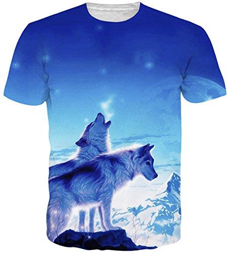 Belovecol Men's Wolf Tee Shirts Short Sleeve 3D Print Graphic T Shirts Tops XXL ()