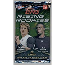 2011 Topps Rising Rookies Football Cards Unopened Pack (10 cards per pack)- Randomly Inserted Autographs & Jersey Cards - Cam Newton Rookie Year