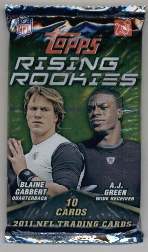 2011 Topps Rising Rookies Football Cards Unopened Pack (10 cards per pack)- Randomly Inserted Autographs & Jersey Cards - Cam Newton Rookie - 2011 Football Cards