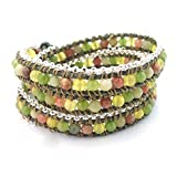 AeraVida Green Leather Mix Stones Chain Link Triple Wrap Bracelet