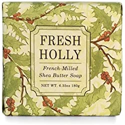 Greenwich Bay Fresh Holly Shea Butter Soap - Enriched with Eucalyptus Oil, & Shea Butter - 6.35 Oz Holiday Vegetable Soap Bar (1 Pack)
