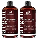 Art Naturals Organic Moroccan Argan Oil Shampoo and Conditioner Set (2 x 16 Oz) - Sulfate Free - Volumizing & Moisturizing, Gentle on Curly & Color Treated Hair, For Men & Women – Infused with Keratin
